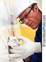 elektriker, montering, elektriskt avlopp