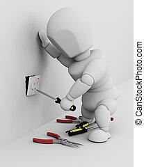 elektriker, passande, en, elektrisk hålighet