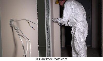 elektriker, schraube, leichter schalter, mit, elektrisch,...