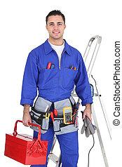 elektriker, seine, posierend, ausrüstung