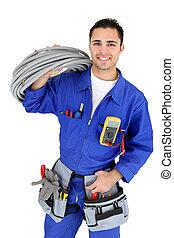 elektriker, stå, med, kabelnedläggning