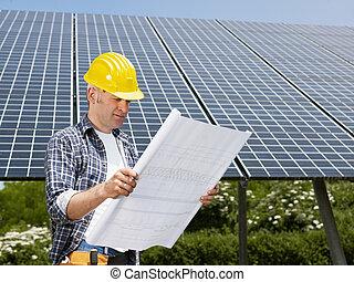 elektriker, stående, nära, sol, paneler