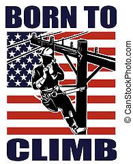 elektriker, streckenarbeiter, macht, amerikanische , retro,...