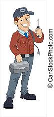 elektriker, zeichen, karikatur