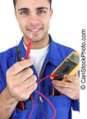 elektriker, zeigen, voltmeter