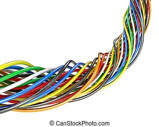 elektrisch, abbildung, mehrfarbig, wires., 3d, bündel