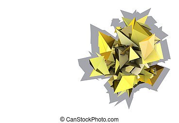 elektrisch, abstrakt, gelber , form, festgenagelt hat, 3d