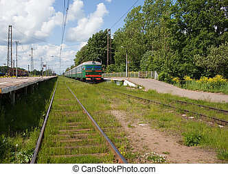 elektrisch, alhier, trein, op, de, perron, in, landelijk, gebieden