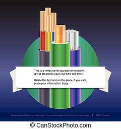 elektrisch, aufgelaufen, kabel, mit, insulated., kupfer, und, aluminium, elektrisch, drähte, in, der, farbig, flechte, mit, beispiel, von, text, design., druck, design, für, plakat, presentation., 3d, abbildung