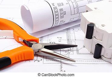elektrisch, diagrammen, huis werken, zekering, elektrisch, bouwsector, gereedschap, tekening