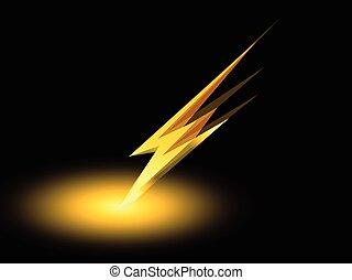 elektrisch, donder, symbool, aanklacht, vector, pictogram