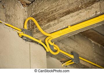 Elektrisch, Drähte, Installation, Und, Leitungsrohre, Von, Elektrizität, In,