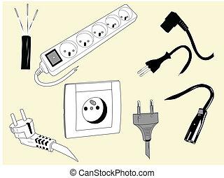 elektrisch, drähte, und, stecker
