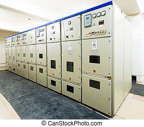 elektrisch, energie, verdeling, substation, in, een, macht,...