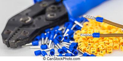 elektrisch, isoliert, closeup, spitze, kabel