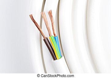 elektrisch, isoliert, schaffner, drei, kabel