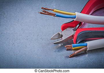 elektrisch, kabels, draden, nippers, op, gekraste, metalen,...
