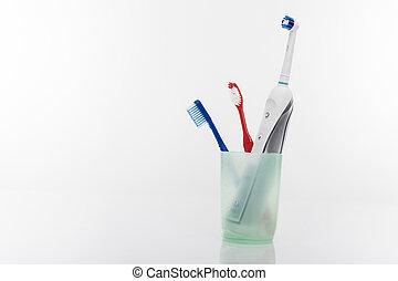 elektrisch, kop, handleiding, samen, een, toothbrushes