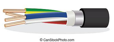 elektrisch, kupfer, gepanzert, kabel