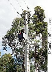 elektrisch, mast, mit, transformator