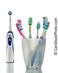 elektrisch, moderne, handleiding, vrijstaand, glas, stander, witte , toothbrushes