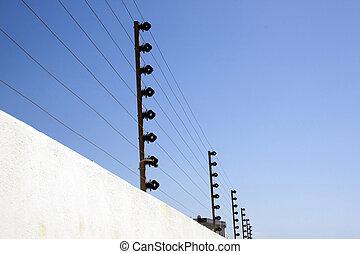 elektrisch, omheining, muur, bovenzijde, veiligheid, grens