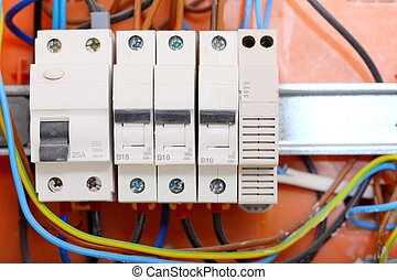 elektrisch, paneel, doosje, met, zekeringen, en, contactors