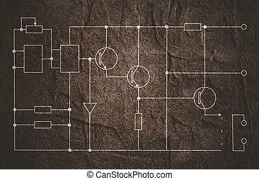 elektrisch, plan, circuit