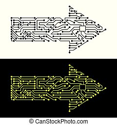 elektrisch, schema, von, pfeil, symbol