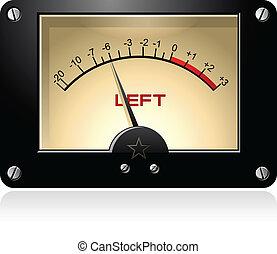 elektrisch, signaal, vu, meter, vector