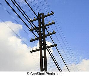 elektrisch, stange, mit, a, viele, kabel