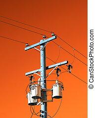 elektrisch, stange, mit, transformator