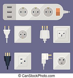 Steckdose, elektrisch, -, freigestellt, abbildung, amerikanische ...