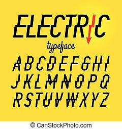 elektrisch, stil, schriftart