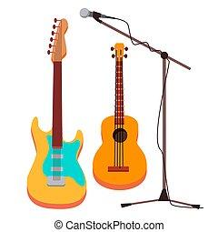 elektrisch, touwtje, classic., vrijstaand, illustratie, muzikalisch, gitaar, instrument., vector., stand., spotprent, microfoon