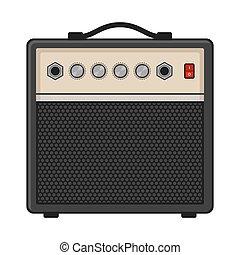 elektrisch, versterker, gitaar, achtergrond., vector, witte