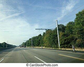 elektrisch, vrachtwagens, gebied, lijnen, bovengronds, test