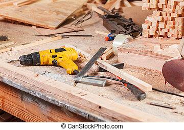 Elektrisch, Werkzeuge, Auf, Der, Zimmermann, Tisch