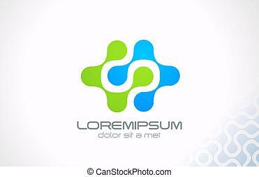 elektrisch, wissenschaft, abstrakt, molekül, vector., logo, technologie