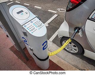 elektrische auto, op, opladend station