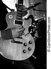 elektrische gitarre, bühne, während, a, leben, felsen- konzert