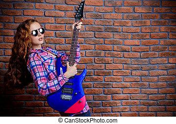 elektrische gitarre, m�dchen