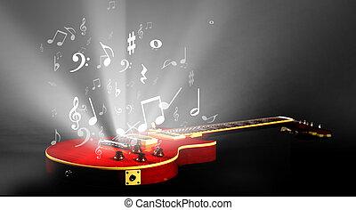 elektrische gitarre, mit, musik merkt, strömend