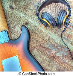 elektrische gitarre, und, kopfhörer, in, hdr