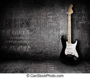 elektrische guitar, en, de muur