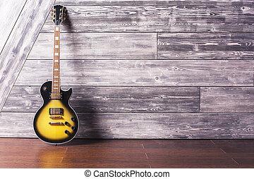 elektrische guitar, in, houten, kamer
