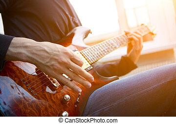 elektrische guitar, speler