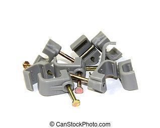 Draden, elektrische kabel. Draden, kabel, op, vrijstaand,... beelden ...