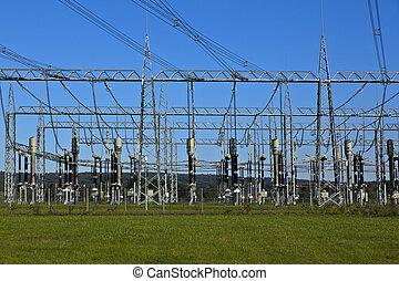 elektrische macht plant, in, bouwland, gebied