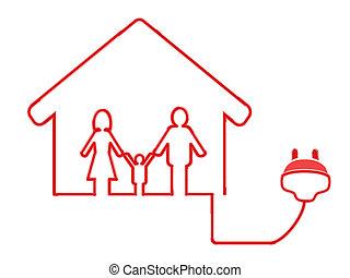 elektrische plug, gezin, symbool
